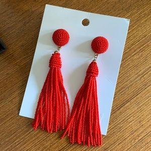 H&M Red Beaded Tassel Earrings